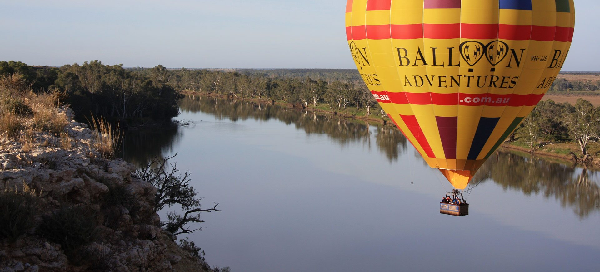 Hot air ballooning over Murray River.