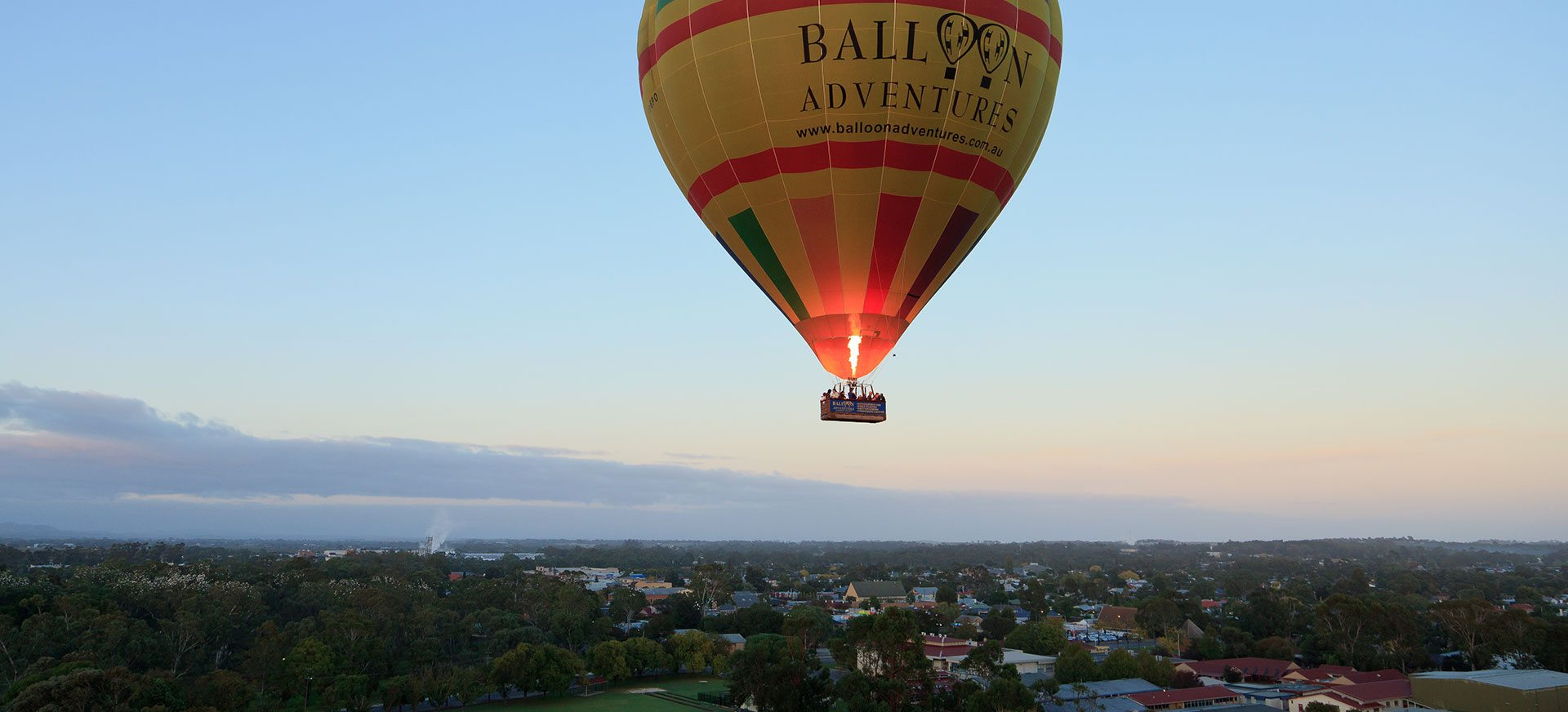 Scenic hot air balloon flying over the Barossa Valley