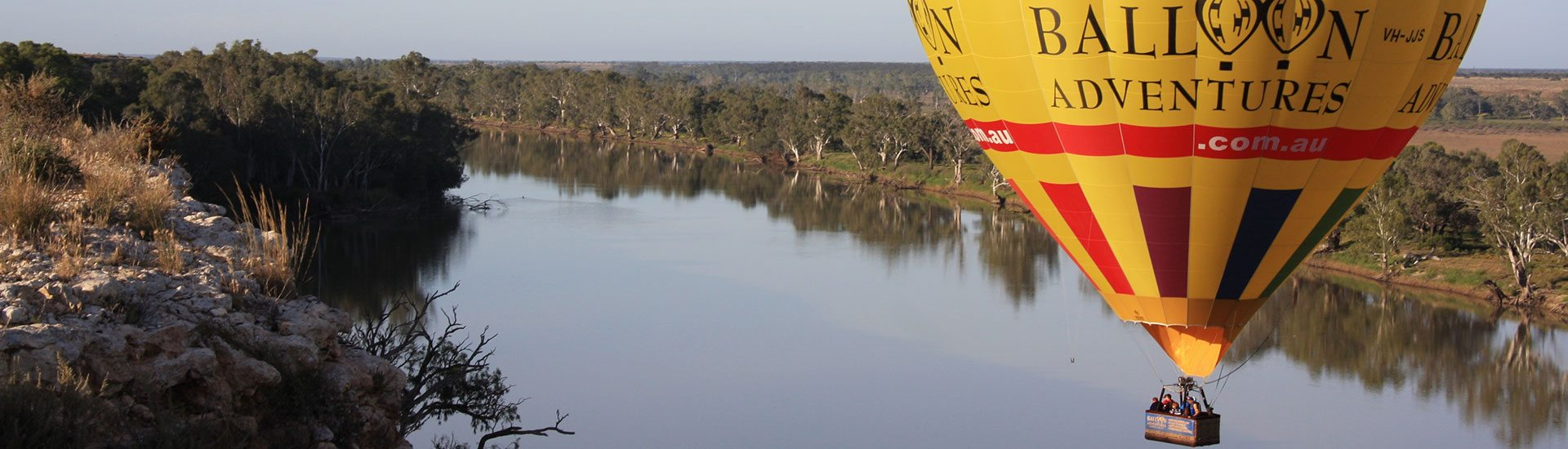 Balloon Adventures flying over the Murray River.