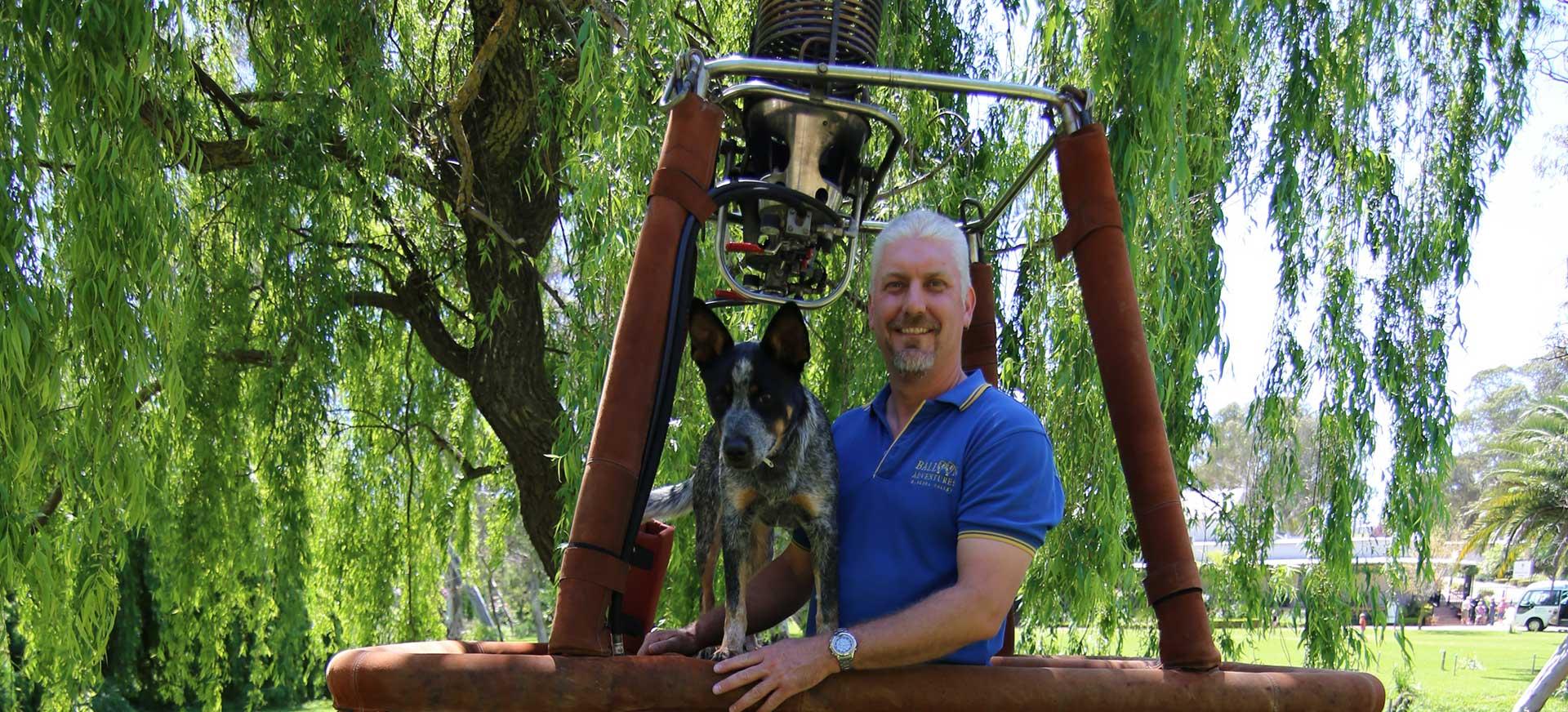 balloon Adventures pilot Justin Stein with German Shepherd