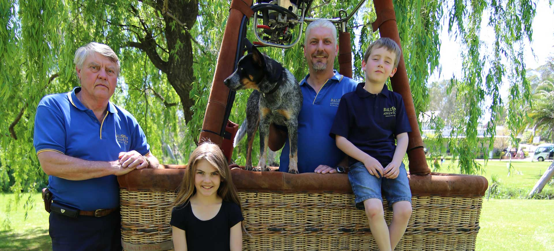 Gibson family with Justin Stein from Balloon Adventures Barossa